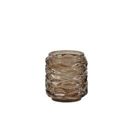Light&Living Theelicht Ø7x8cm GINGER glas donker bruin
