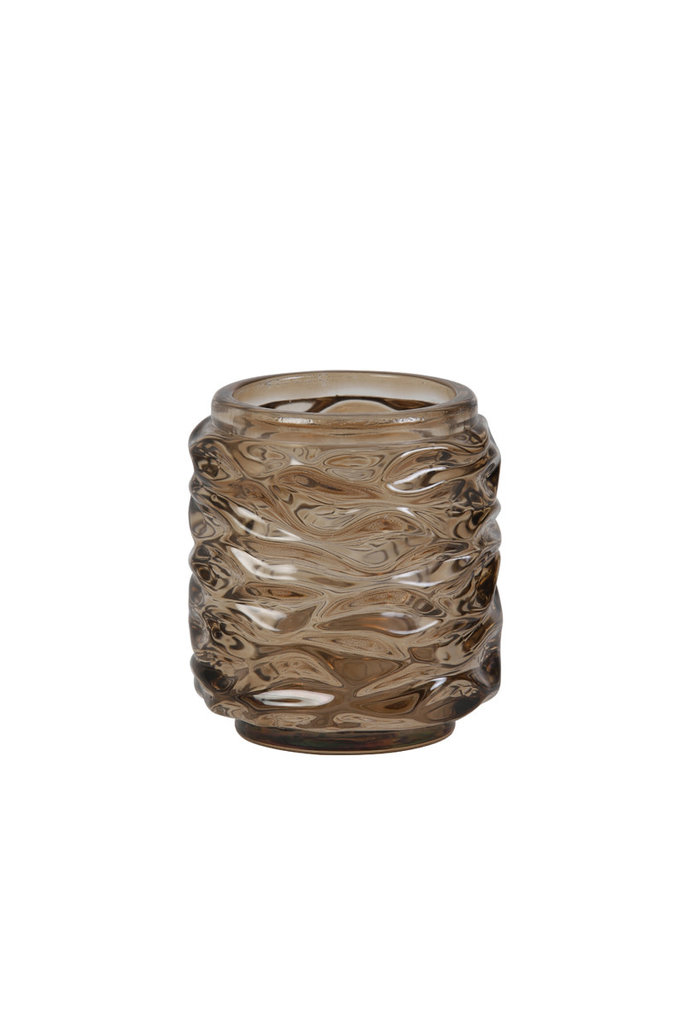 Light&Living Teelicht Ø7x8cm GINGER glas dunkelbraun