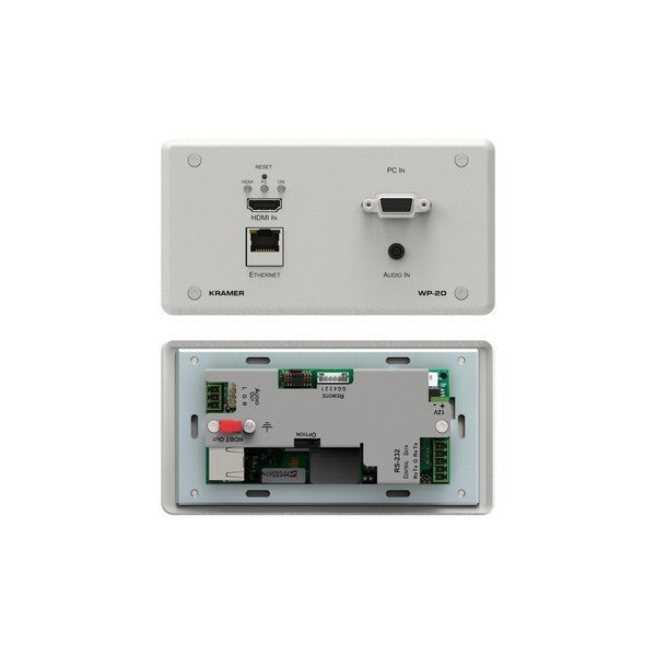 KRAMER - WP-20 4K60 4:2:0 HDMI & VGA Wall–Plate Auto Switcher and PoE Acceptor over HDBaseT with Maestro Room Automation