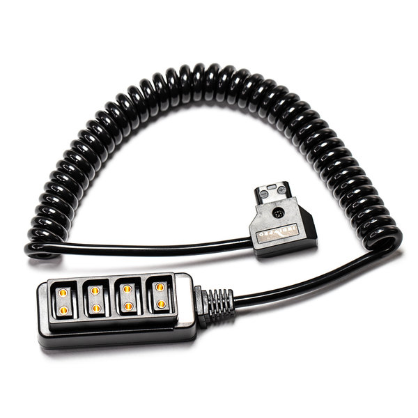 Indi Pro INDIPRO - INDIPRO 4-WAY D-TAP SPLITTER CABLE CONVERTER (COILED CABLE) 20 TO 36 INCH CABLE