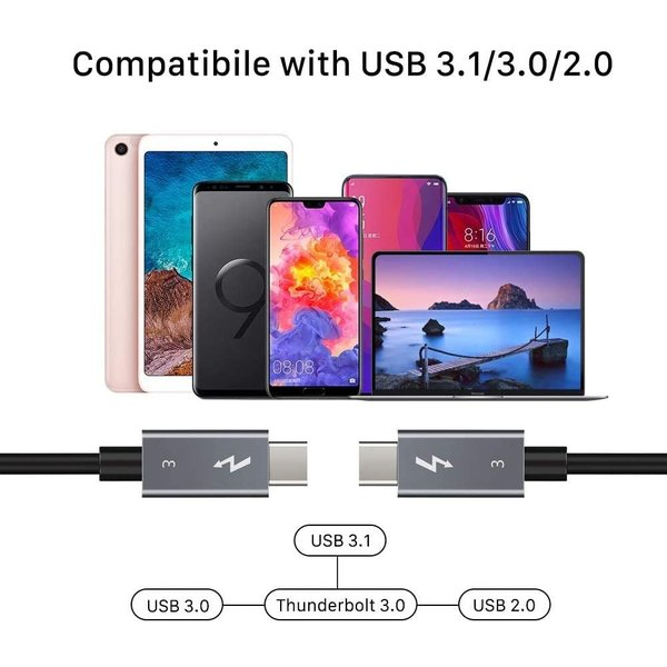 Videoholland Thunderbolt 3 kabel 40Gb/s 100W 50cm