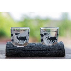 Lappituote Schnapps Glasses on pinewood stand (2 pcs)