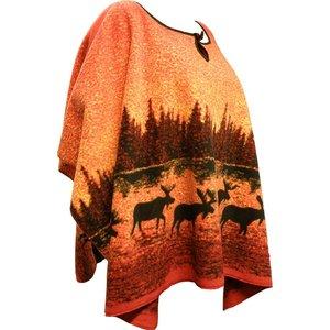 Lappituote Eland in de herfstkleuren bos – Fleece Poncho