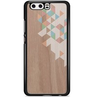 Huawei P10 hoesje - Geo blocks on wood