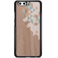 Huawei P10 hoesje - Geo blocks on wood