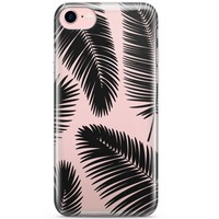 iPhone 8 / 7 transparant hoesje - Palm leaves silhouette