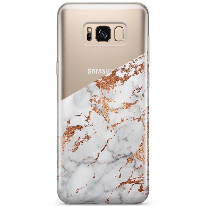 Samsung Galaxy S8 transparant hoesje - Marmer rosegoud
