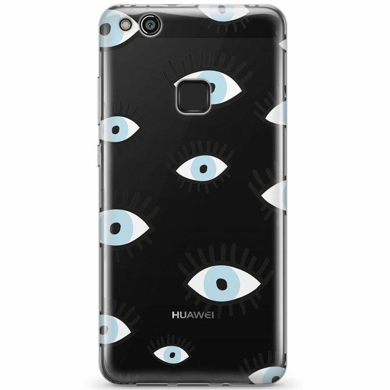 Huawei P10 Lite siliconen hoesje - Ogen print