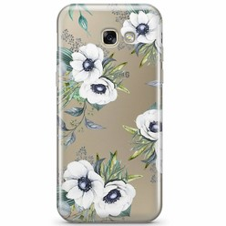 Samsung Galaxy A3 2017 transparant hoesje - Bloemenprint wit
