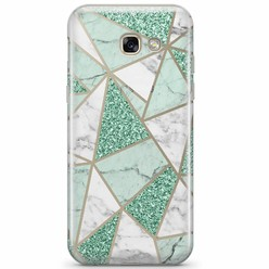 Samsung Galaxy A3 2017 transparant hoesje - Minty marmer collage