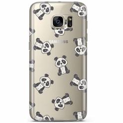 Samsung Galaxy S7 transparant hoesje - Panda print