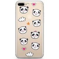 iPhone 7 Plus / iPhone 8 Plus transparant hoesje - Panda