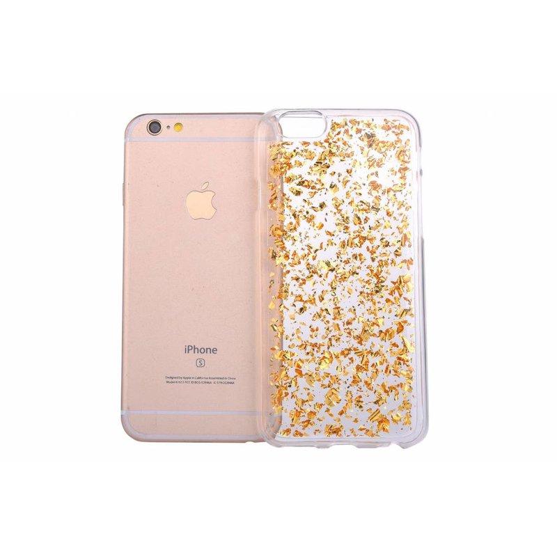 iPhone 6/6s hoesje - Gouden blaadjes transparant