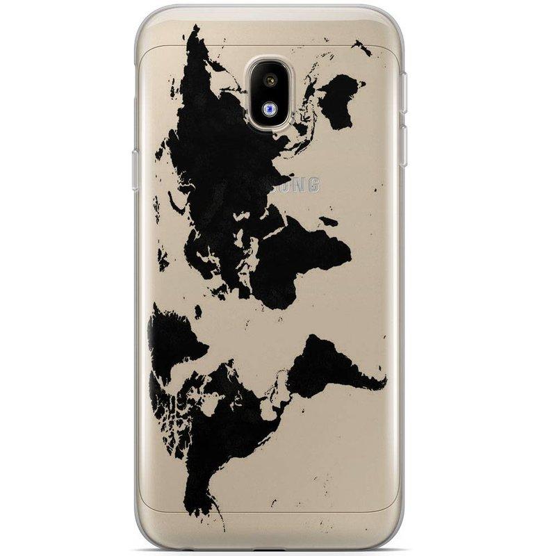 Samsung Galaxy J3 2017 siliconen hoesje - Wereldmap