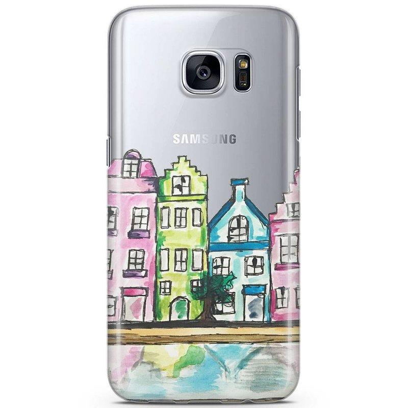Casimoda Samsung Galaxy S7 siliconen hoesje - Amsterdam grachtenpanden