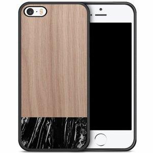 iPhone 5/5S/SE hoesje - Marmer zwart wood