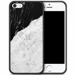 iPhone 5/5S/SE hoesje - Marmer zwart grijs