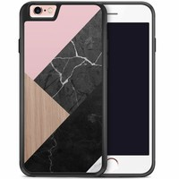 iPhone 6/6s hoesje - Marble wooden mix