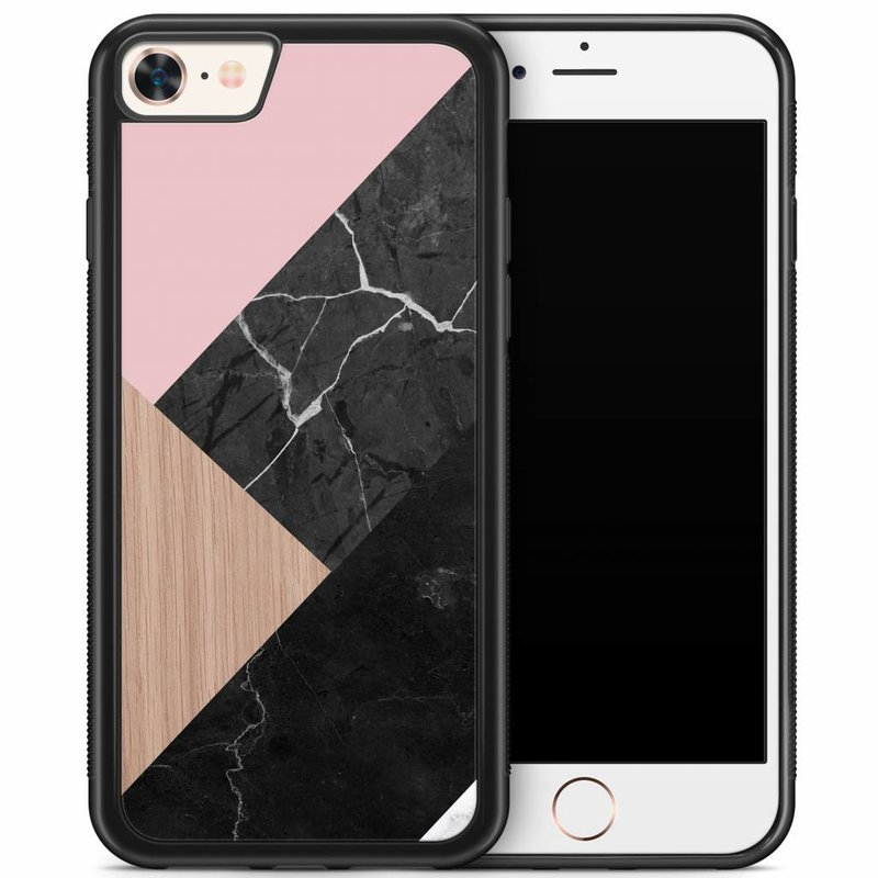 iPhone 8/7 hoesje - Marble wooden mix