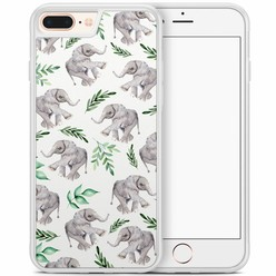 iPhone 8 Plus/iPhone 7 Plus hoesje - Floral olifantjes