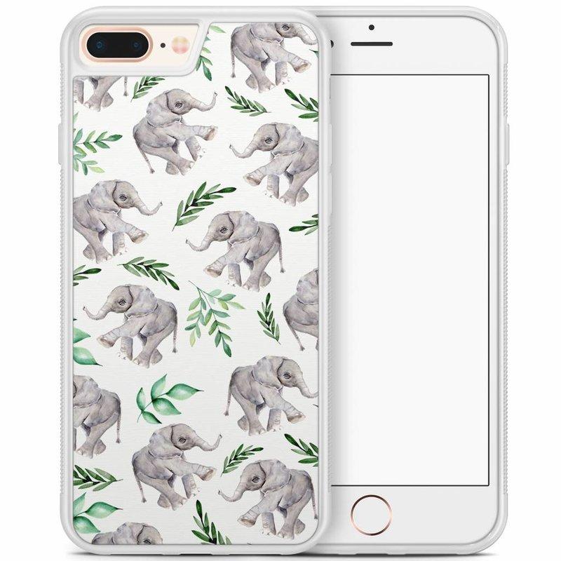 iPhone 8 Plus/iPhone 7 Plus hoesje - Floral olifantjes