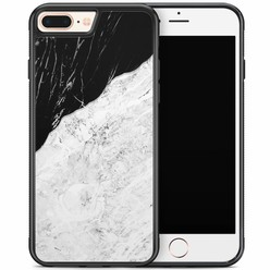 iPhone 8 Plus/iPhone 7 Plus hoesje - Marmer zwart grijs