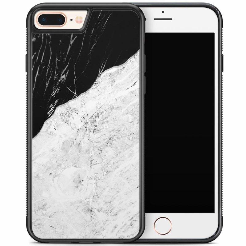 iPhone 8 Plus/iPhone 7 Plus hoesje - Marmer zwart grijs