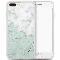 iPhone 8 Plus/iPhone 7 Plus hoesje - Marmer mint mix