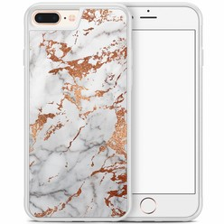 iPhone 8 Plus/iPhone 7 Plus hoesje - Rose goud marmer