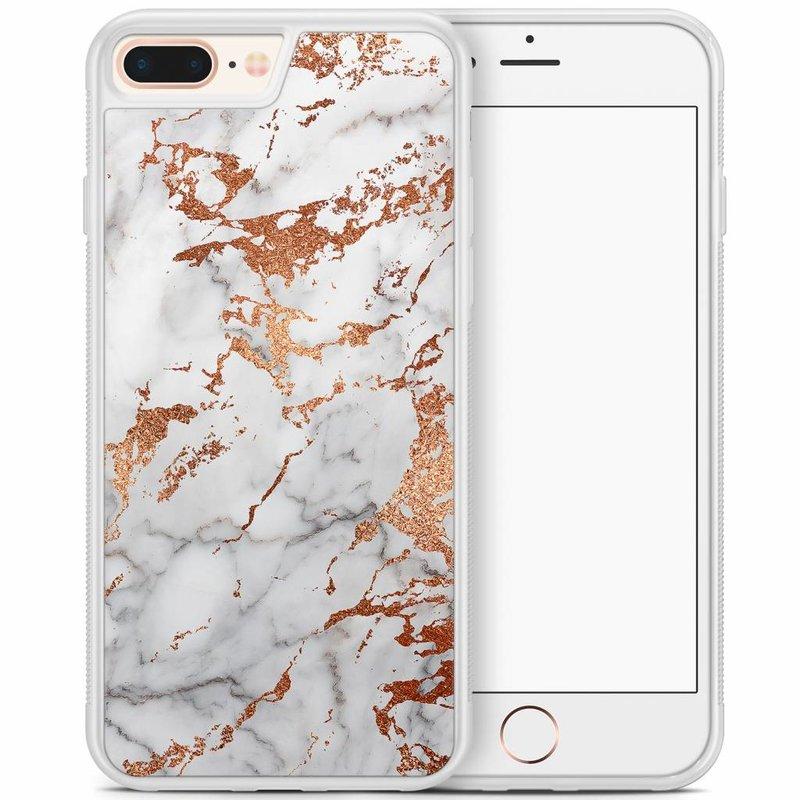 iPhone 8 Plus/iPhone 7 Plus hoesje - Rose goud marmer