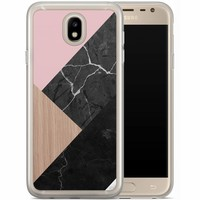 Casimoda Samsung Galaxy J7 2017 siliconen hoesje - Marble wooden mix