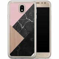 Casimoda Samsung Galaxy J5 2017 siliconen hoesje - Marble wooden mix