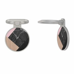 Zilveren telefoon ring houder - Marble wooden mix