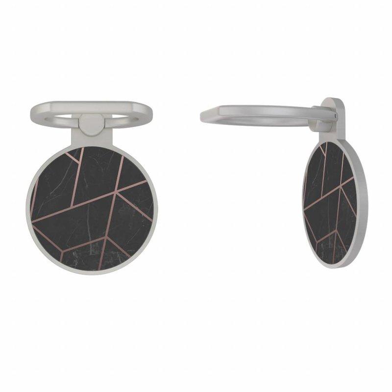 Zilveren telefoon ring houder - Marble grid