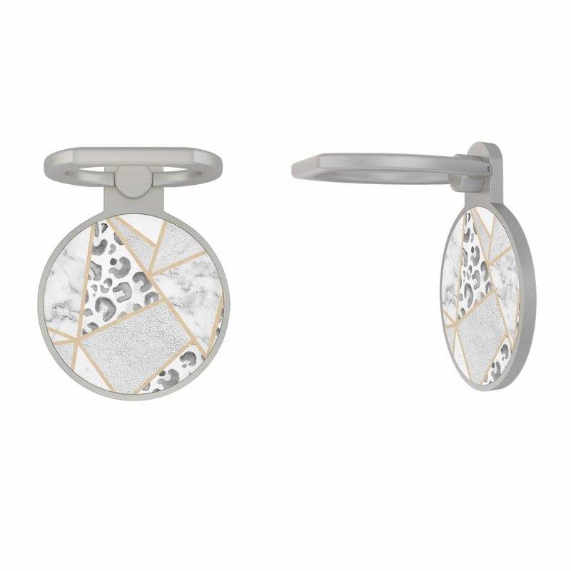 Zilveren telefoon ring houder - Stone & leopard print