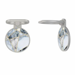 Zilveren telefoon ring houder - Marmer blauw