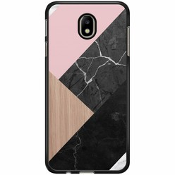 Samsung Galaxy J7 2017 hoesje - Marble wooden mix