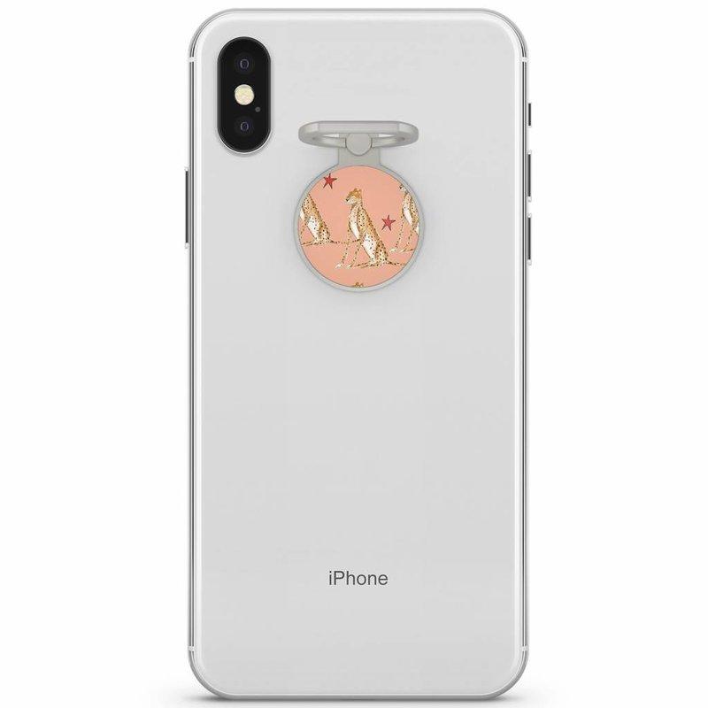Zilveren telefoon ring houder - Cheetah print