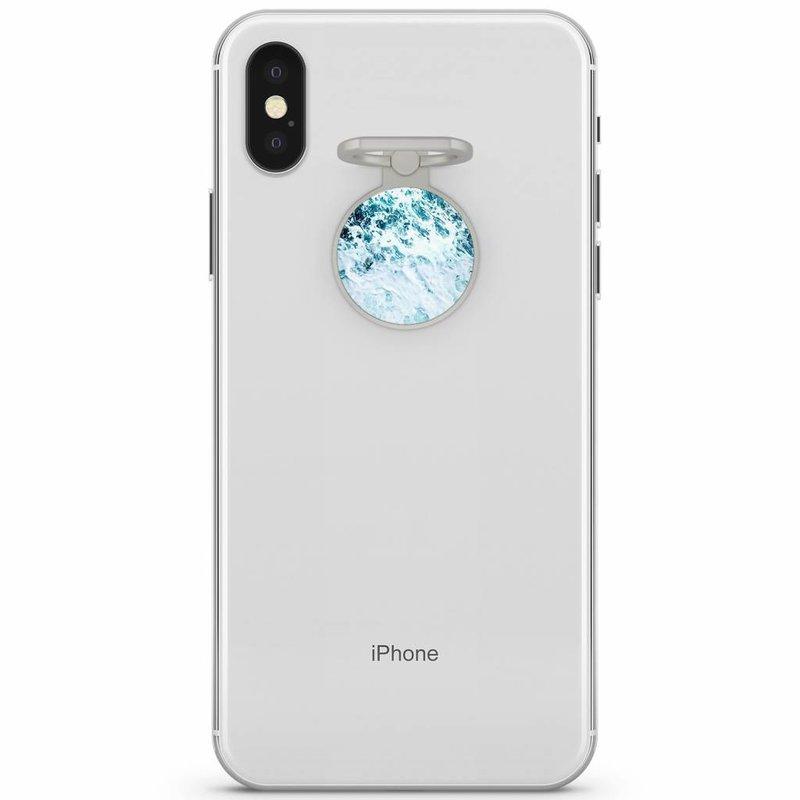 Zilveren telefoon ring houder - Oceaan