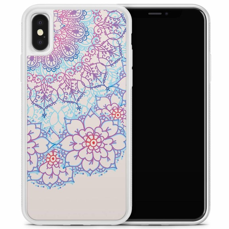 iPhone X/XS hoesje - Red & blue floral
