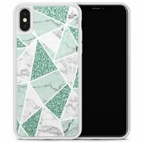 iPhone X/XS hoesje - Marmer mint