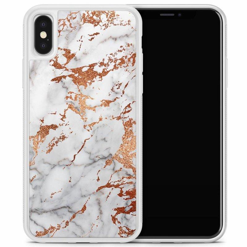 iPhone X/XS hoesje - Rose goud marmer