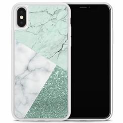Casimoda iPhone X/XS hoesje - Minty marmer collage