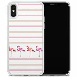 Casimoda iPhone X/XS hoesje - Flamingo stripes