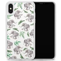 Casimoda iPhone X/XS hoesje - Floral olifantjes