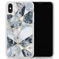 iPhone X/XS hoesje - Marmer blauw