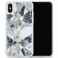 Casimoda iPhone X/XS hoesje - Marmer blauw