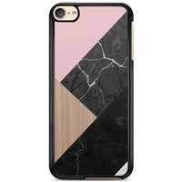 iPod touch 6 hoesje - Marble wooden mix