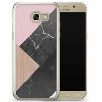 Samsung Galaxy A3 2017 siliconen hoesje - Marble wooden mix