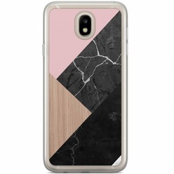 Casimoda Samsung Galaxy J3 2017 siliconen hoesje - Marble wooden mix